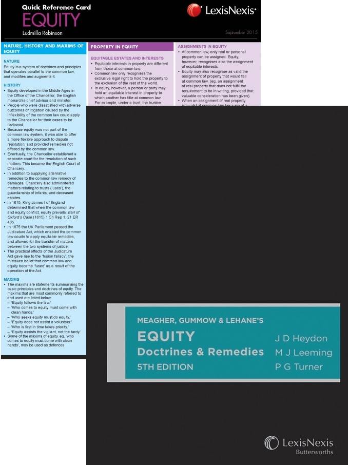 MGLUNSW2015 - Heydon, Leeming & Turner: Equity Doctrines & Remedies 5E + QRC: Equity 2nd Edition