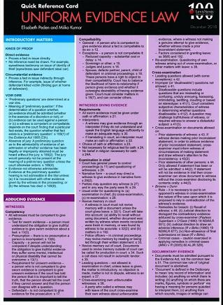 Quick Reference Card - Uniform Evidence Law